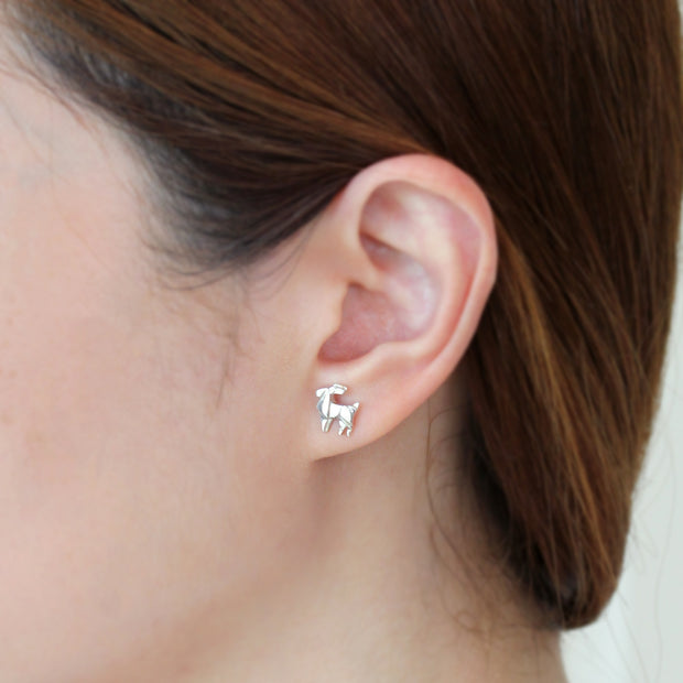 Origami Reindeer Silver Stud Earrings - Lertvizutte