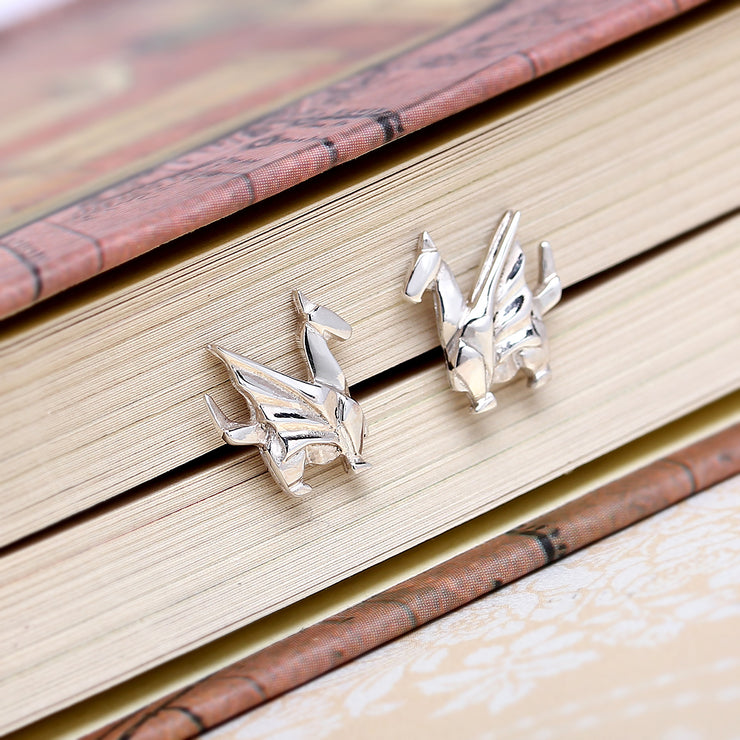 Origami Dragon Silver Stud Earrings - Lertvizutte