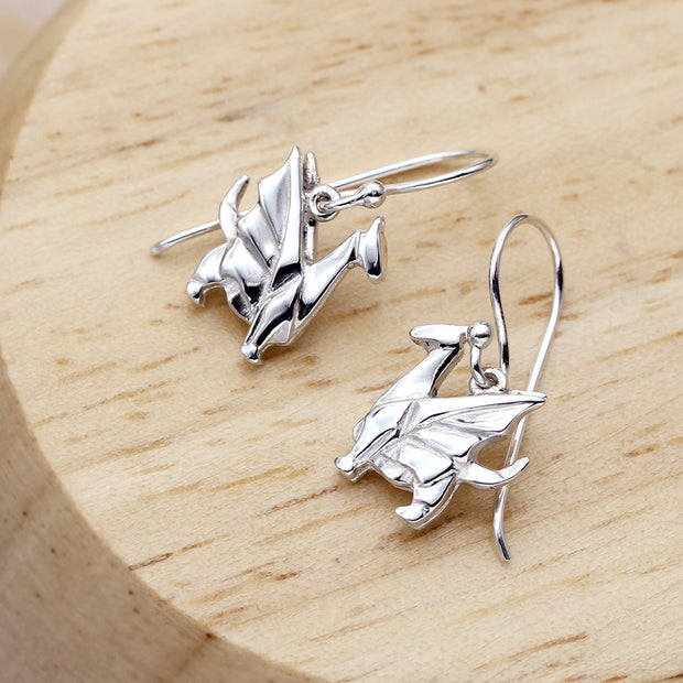 Origami Dragon Silver Dangle Earrings - Lertvizutte