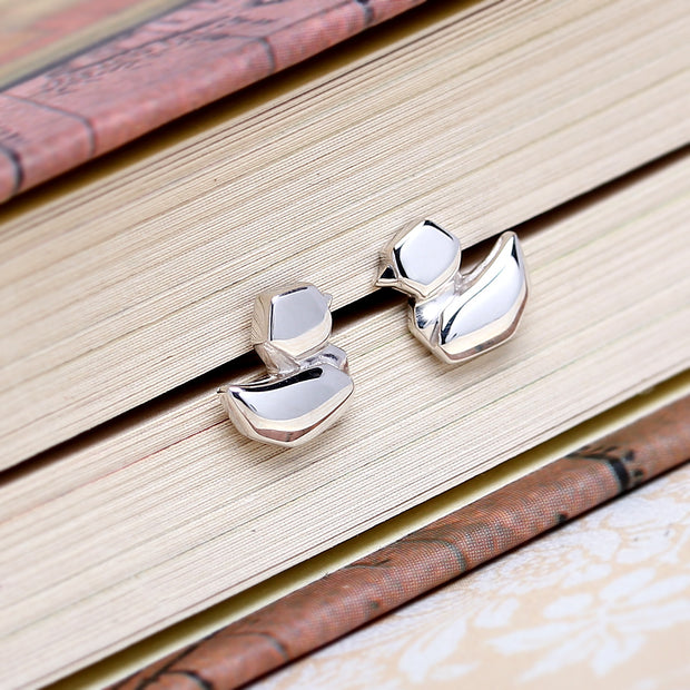 Origami Duck Silver Stud Earrings - Lertvizutte