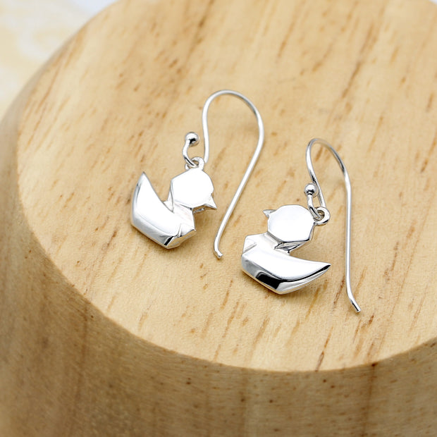 Origami Baby Duck Silver Dangle Earrings - Lertvizutte