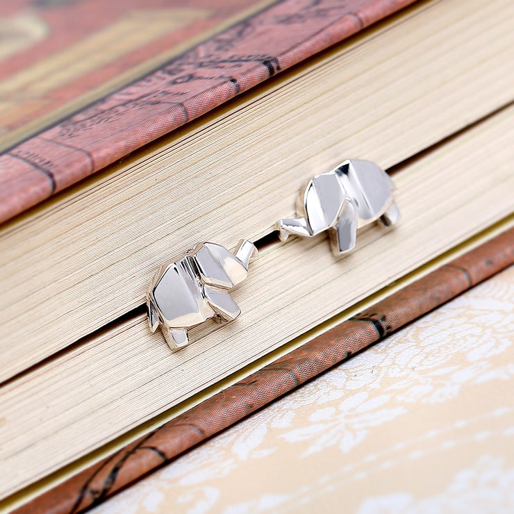 Origami Elephant Silver Stud Earrings - Lertvizutte
