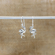 Origami Flamingo Silver Dangle Earrings - Lertvizutte