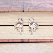 Origami Flamingo Silver Stud Earrings - Lertvizutte
