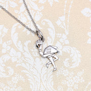 Origami Flamingo Silver Necklace - Lertvizutte
