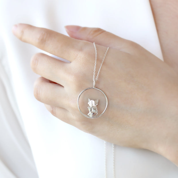Origami Fox Circle Silver Necklace - Lertvizutte