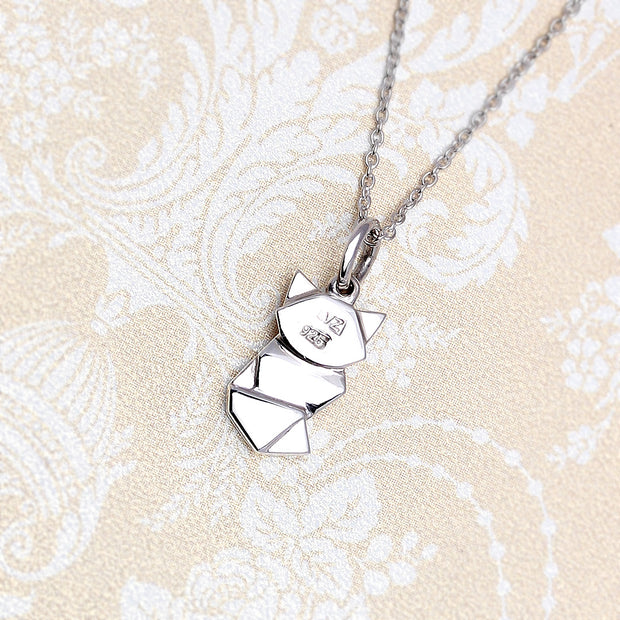 Origami Fox Silver Necklace - Lertvizutte