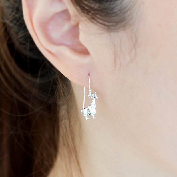 Origami Giraffe Silver Dangle Earrings - Lertvizutte
