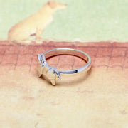 Origami Golden Retriever Dog Silver Ring - Lertvizutte