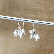 Origami Golden Retriever Dog Silver Dangle Earrings - Lertvizutte