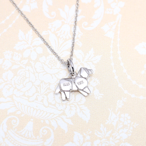 Origami Golden Retriever Dog Silver Necklace - Lertvizutte