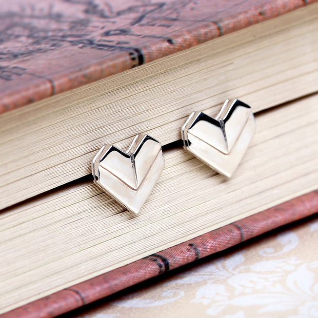 Origami Heart Silver Stud Earrings - Lertvizutte