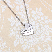 Origami Heart Silver Necklace - Lertvizutte