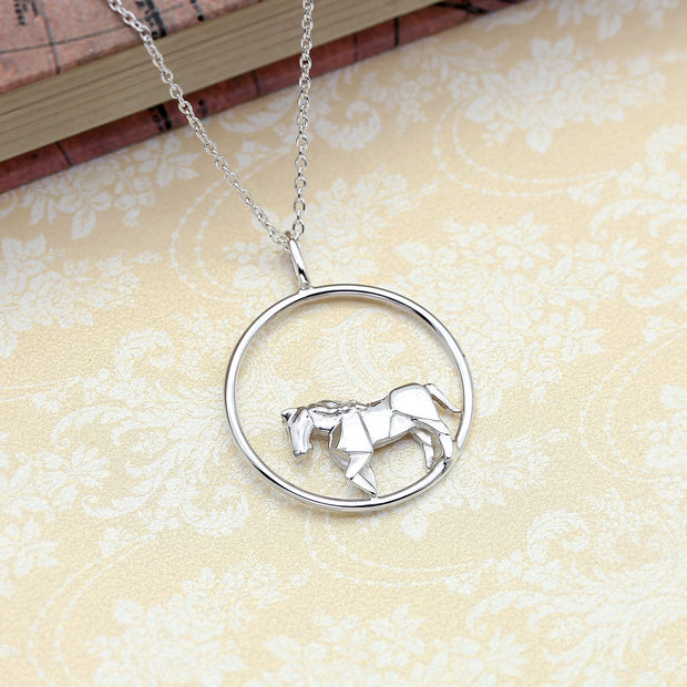 Origami Horse Circle Necklace - Lertvizutte