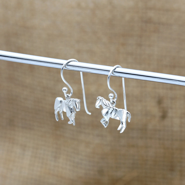 Origami Horse Silver Dangle Earrings - Lertvizutte