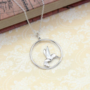Origami Hummingbird Circle Silver Necklace - Lertvizutte
