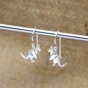 Origami Kangaroo Silver Dangle Earrings - Lertvizutte