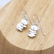 Origami Koala Bear Silver Dangle Earrings - Lertvizutte