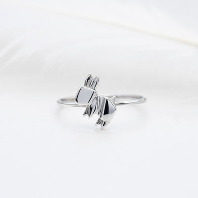 Mini Origami Rabbit Silver Ring - Lertvizutte