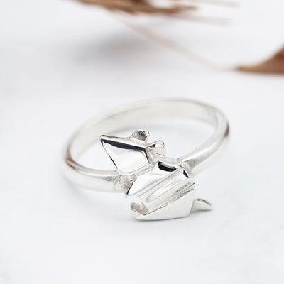 Origami Mouse Silver Ring - Lertvizutte