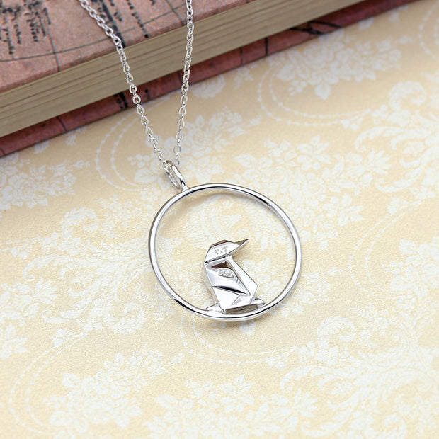Origami Penguin Circle Necklace - Lertvizutte