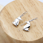 Origami Penguin Silver Dangle Earrings - Lertvizutte