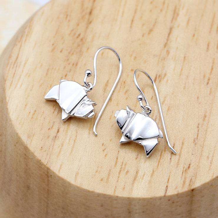 Origami Pig Silver Dangle Earrings - Lertvizutte