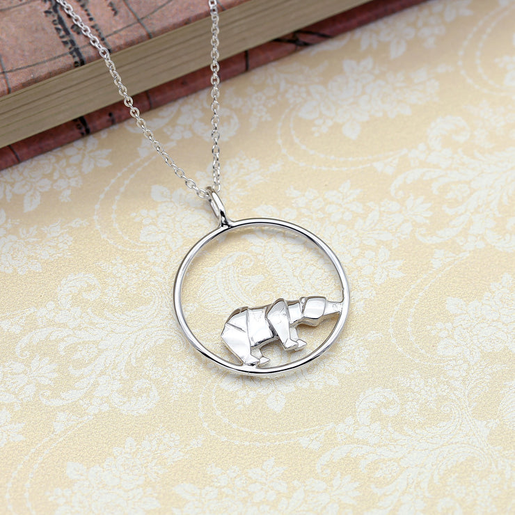Origami Polar Bear Circle Necklace - Lertvizutte