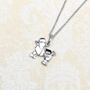 Origami Poodle Dog Silver Necklace - Lertvizutte
