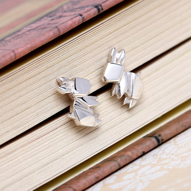 Origami Bunny Rabbit Silver Stud Earrings - Lertvizutte