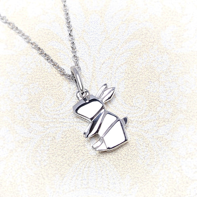 Origami Bunny Rabbit Silver Necklace - Lertvizutte
