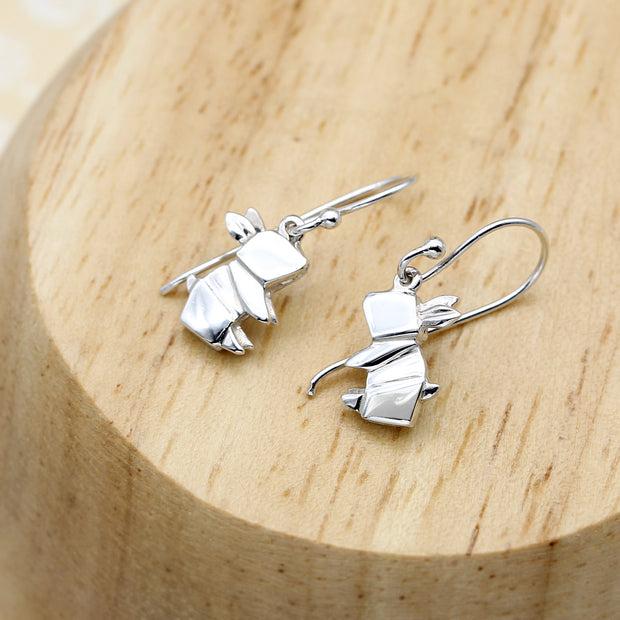 Origami Bunny Silver Dangle Earrings - Lertvizutte