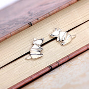 Origami Mouse Silver Stud Earrings - Lertvizutte