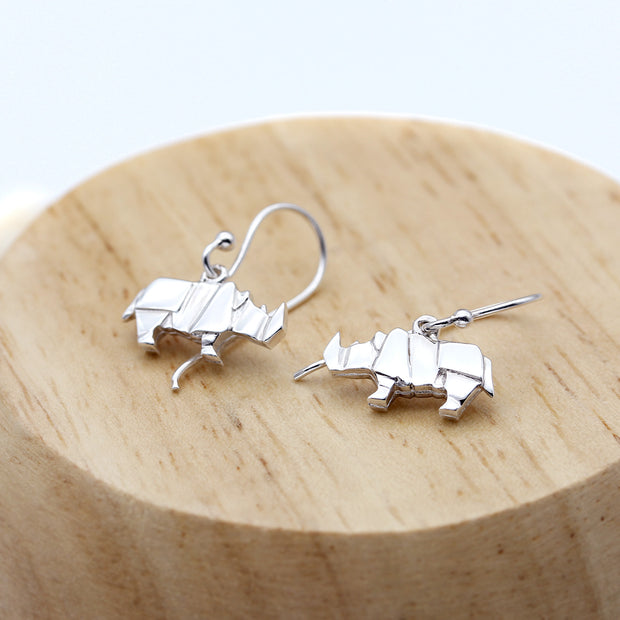 Origami Rhino Silver Dangle Earrings - Lertvizutte