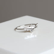 Mini Origami Shark Silver Ring - Lertvizutte