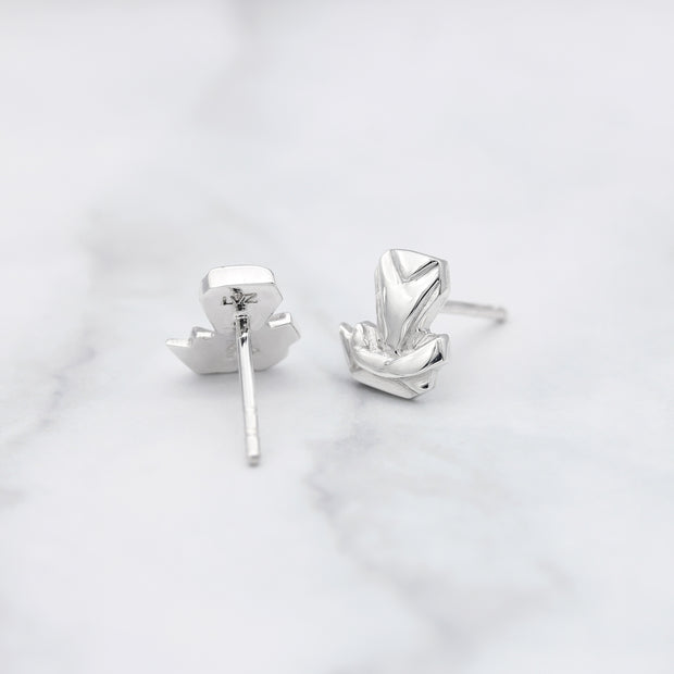 Origami Snake Silver Stud Earrings - Lertvizutte