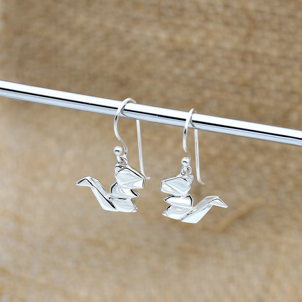 Origami Squirrel Silver Dangle Earrings - Lertvizutte