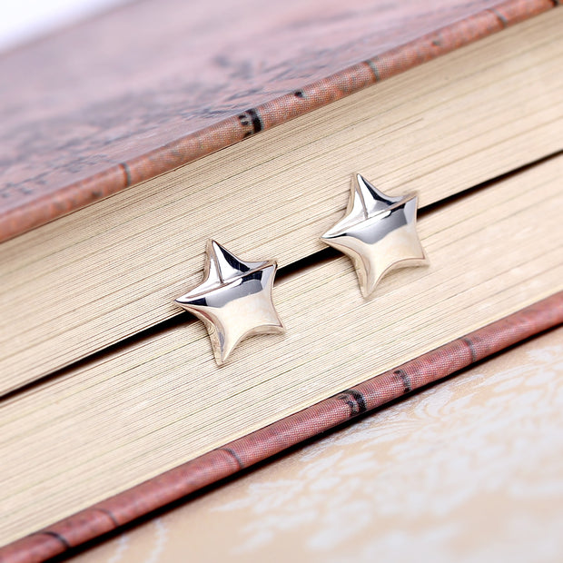 Origami Star Silver Stud Earrings - Lertvizutte