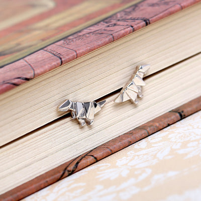Origami T-rex Silver Stud Earrings - Lertvizutte