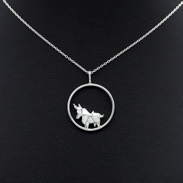 Origami Unicorn Circle Necklace - Lertvizutte