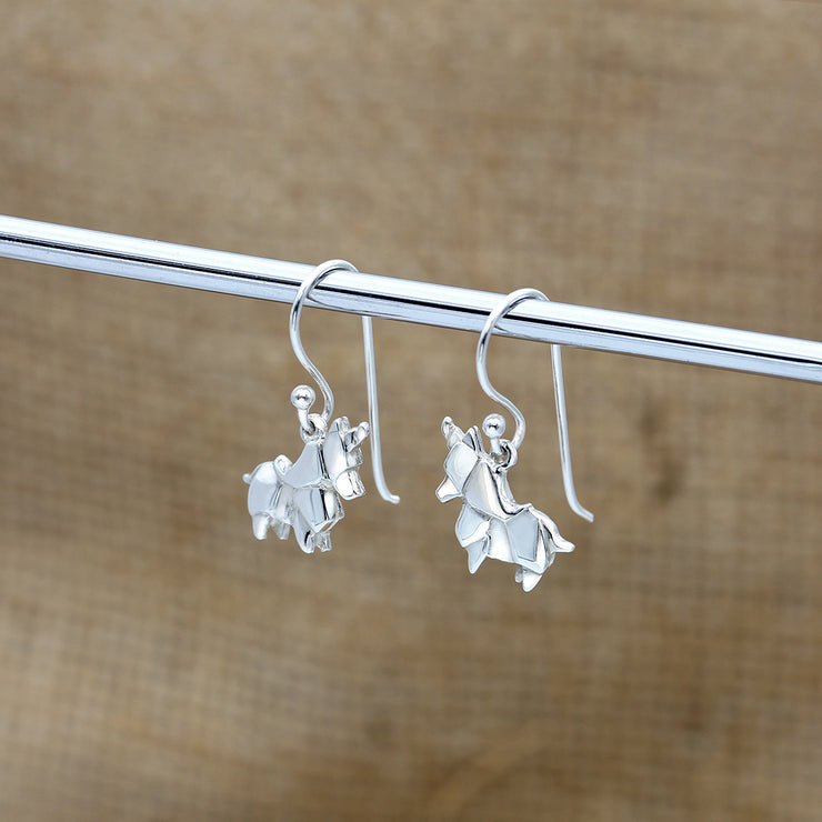 Origami Unicorn Silver Dangle Earrings - Lertvizutte