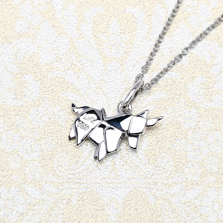 Origami Unicorn Silver Necklace - Lertvizutte