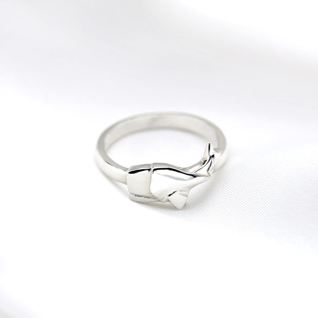Origami Whale Silver Ring - Lertvizutte