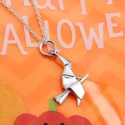 Origami Flying Witch Silver Necklace - Lertvizutte