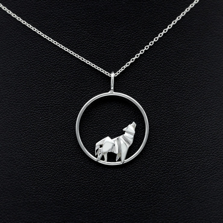 Origami Wolf Silver Circle Necklace - Lertvizutte