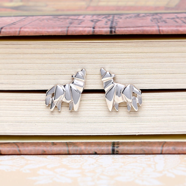Origami Wolf Silver Stud Earrings - Lertvizutte