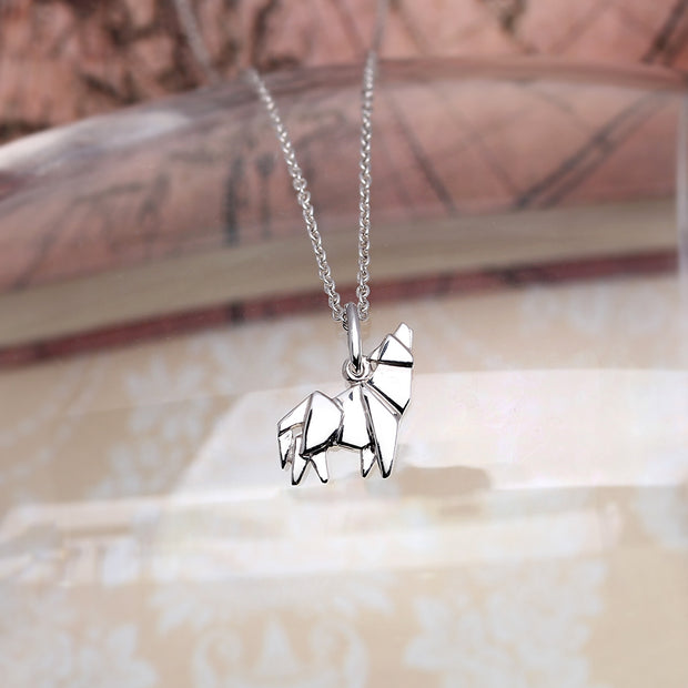 Origami Wolf Silver Necklace - Lertvizutte