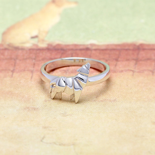 Origami Wolf Silver Ring - Lertvizutte