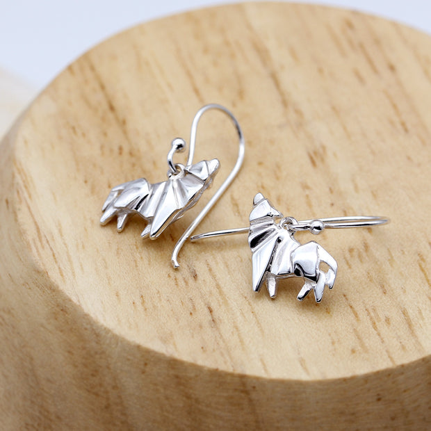 Origami Wolf Silver Dangle Earrings - Lertvizutte