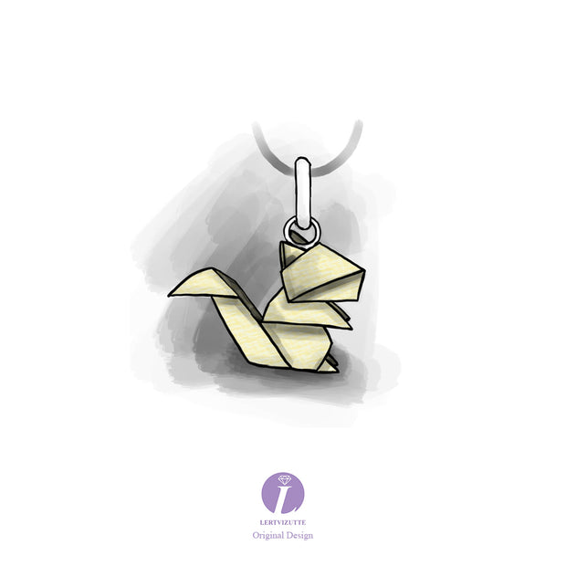 Origami Squirrel Silver Necklace - Lertvizutte